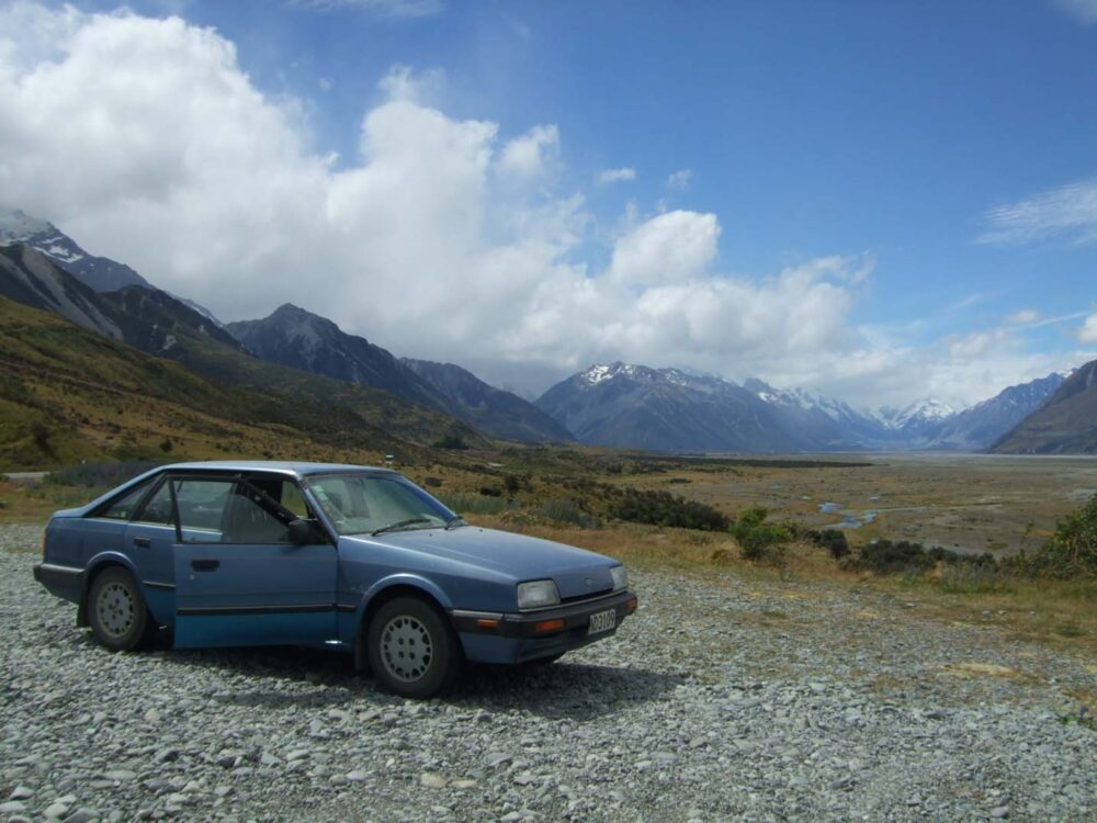 driving near Mount Cook, South island, New Zealand