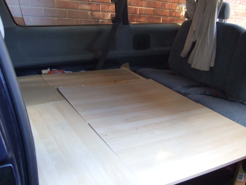 Bed frame in our Toyota Lucida van conversion