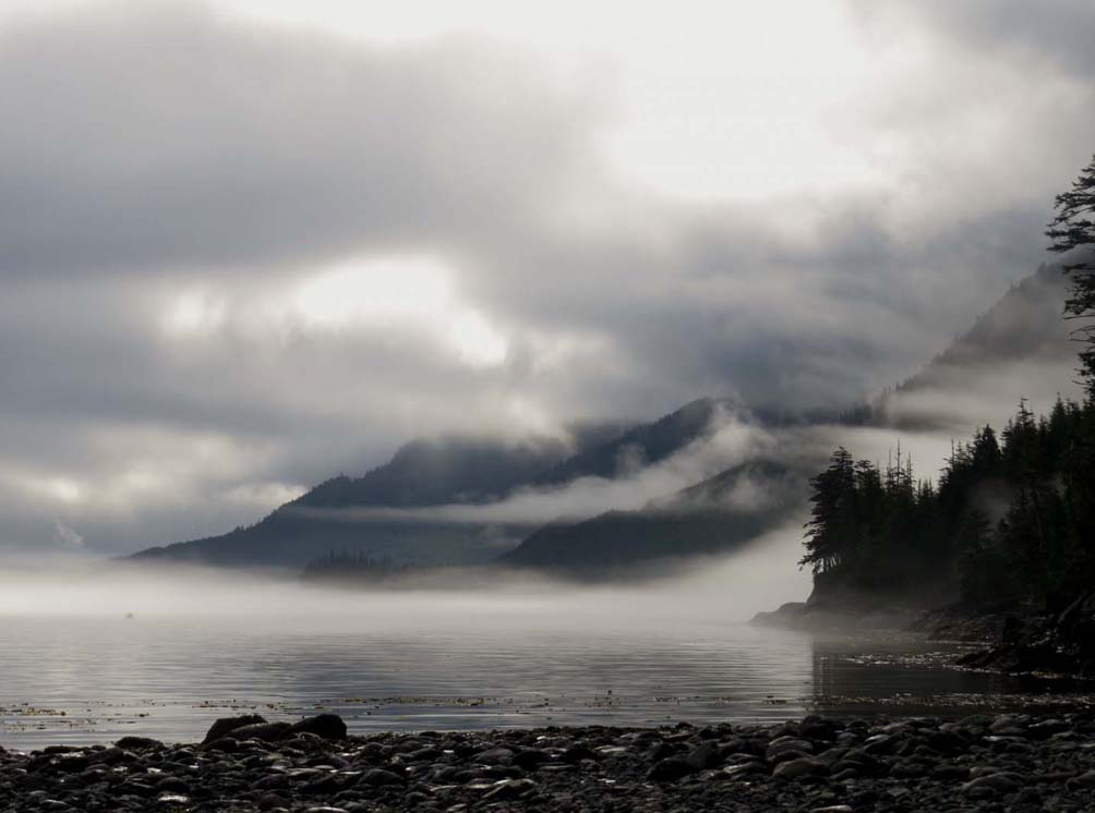 Foggy lake and mountains Vancouver Island