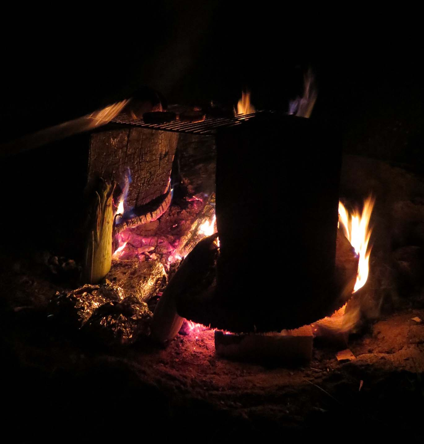 Campfire with grate and food cooking