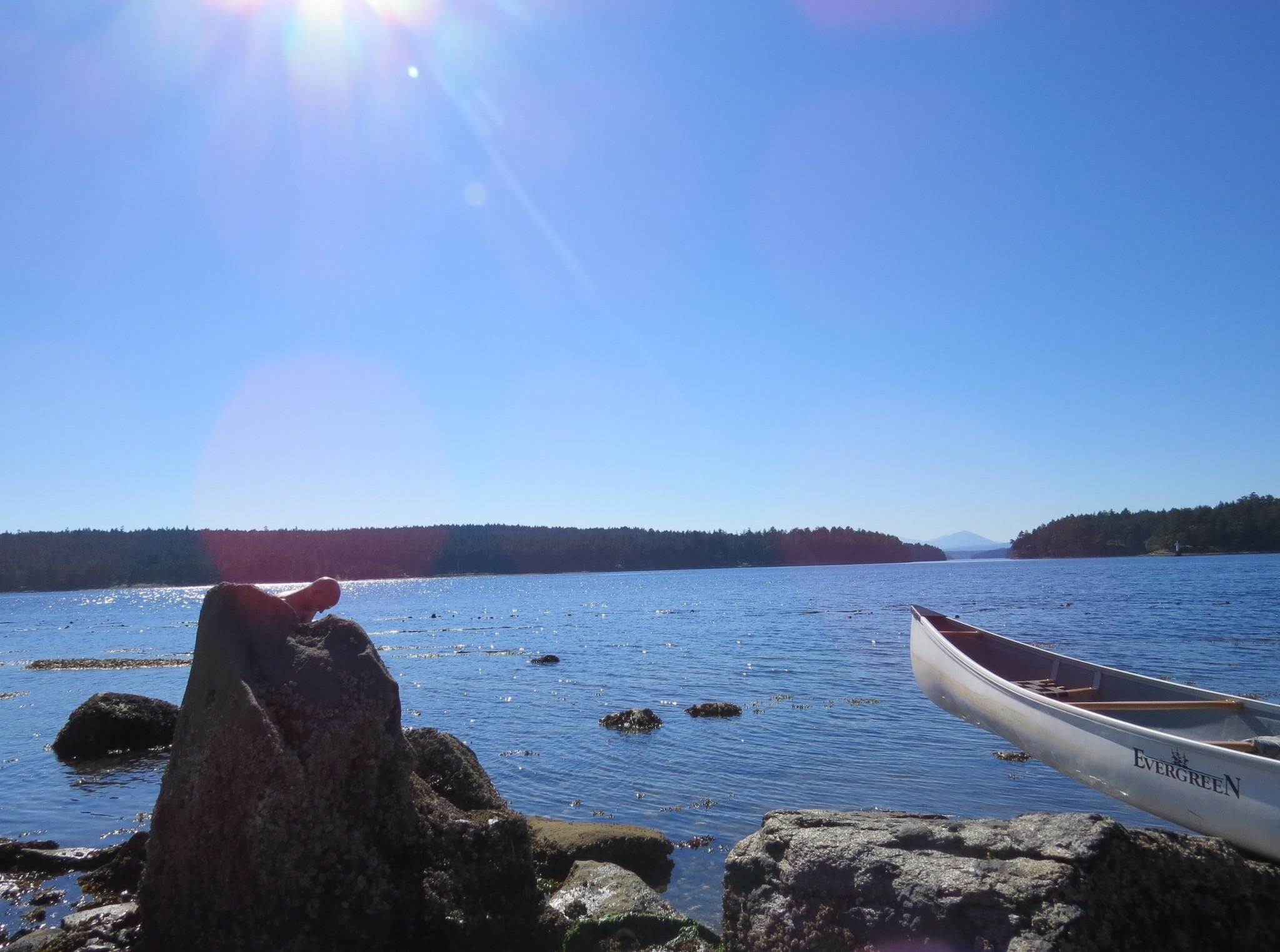 Canoe and Gabriola Island coastline