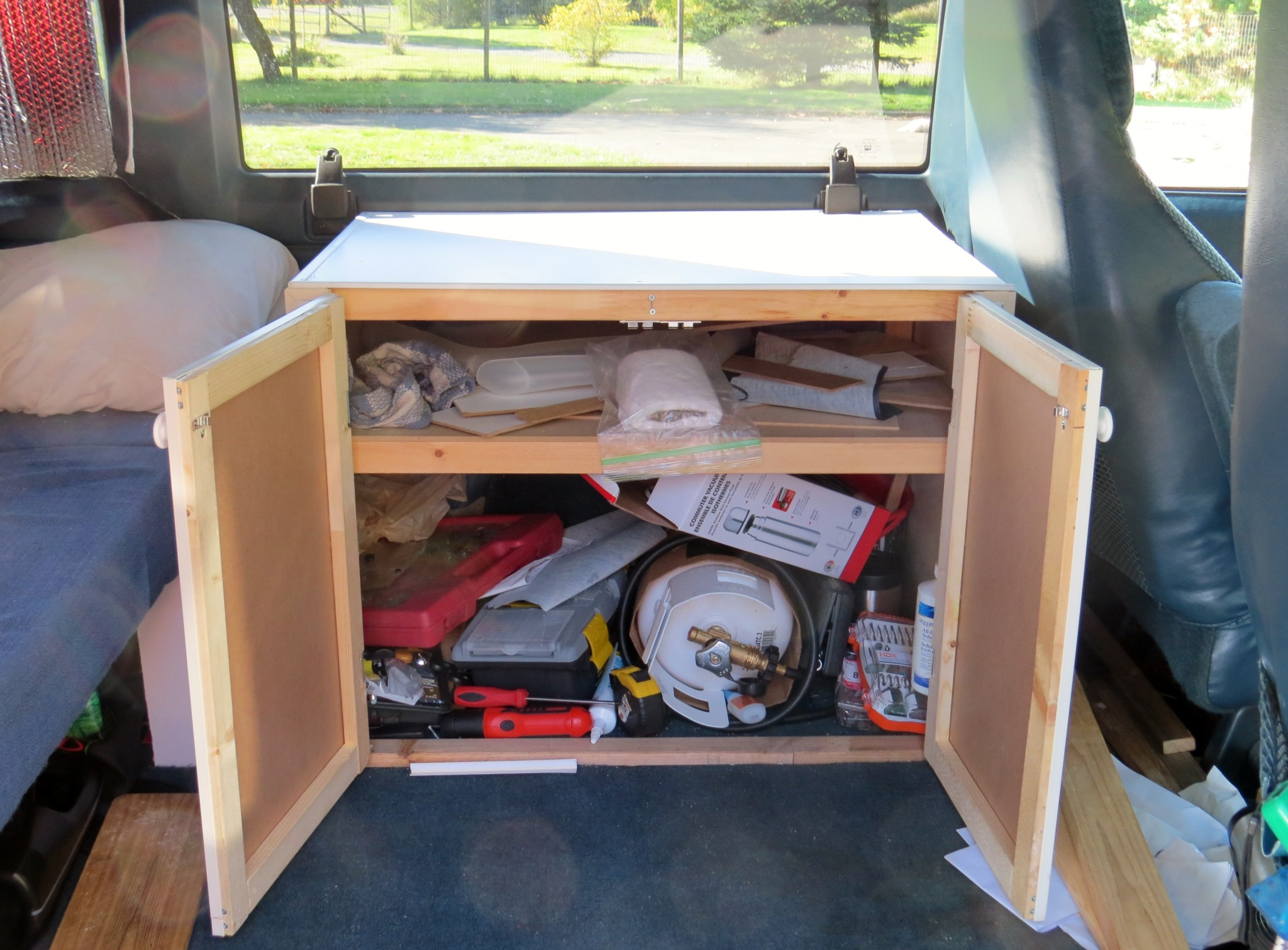 astro van conversion cabinet open