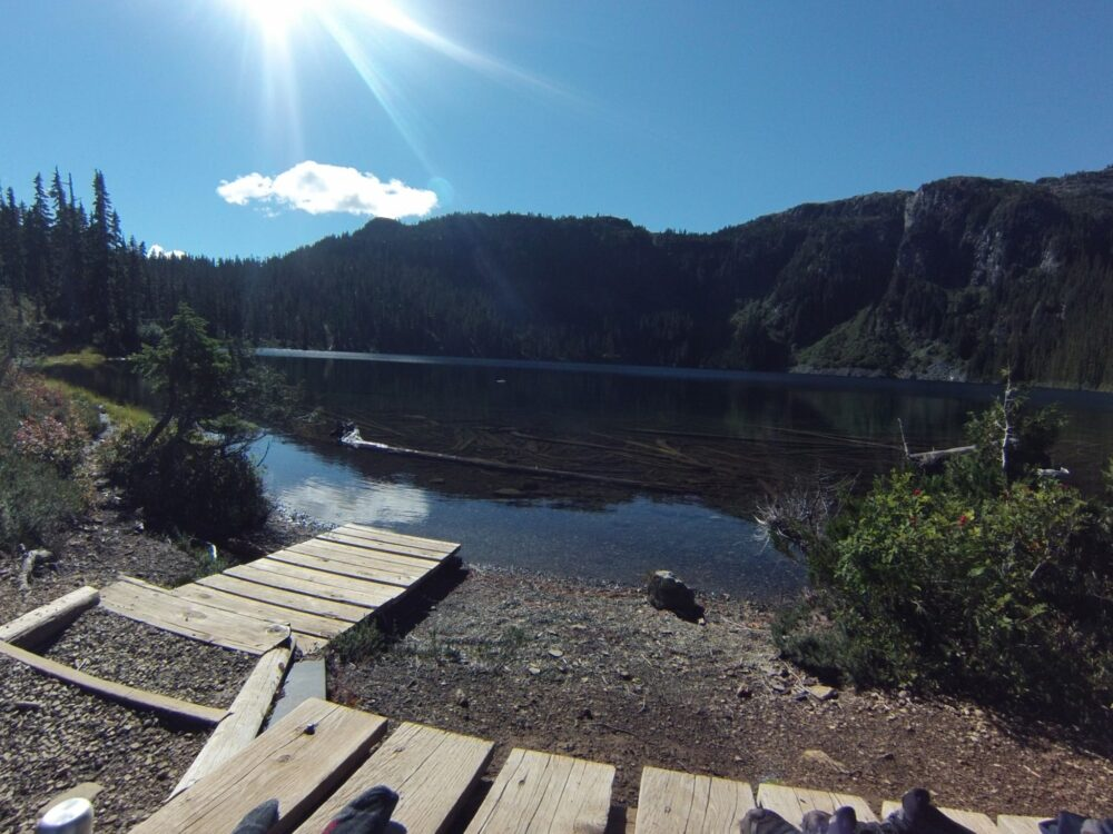 Wooden boardwalk leading to Circlet Lake