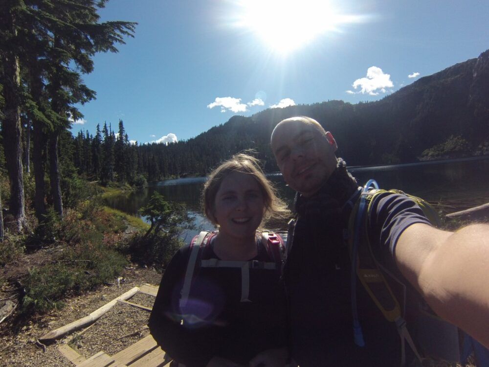 gemma and jr selfie with circlet lake strathcona prk