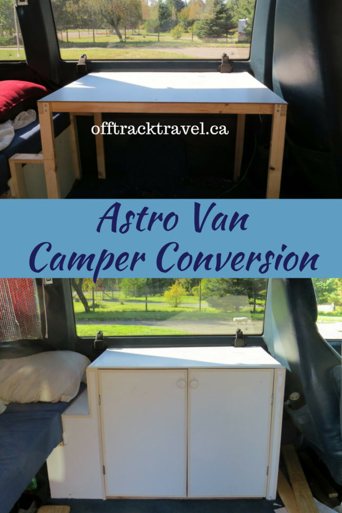Astro Van Camper Conversion Update 4 - Building a cabinet for storage in our tiny campervan conversion. offtracktravel.ca