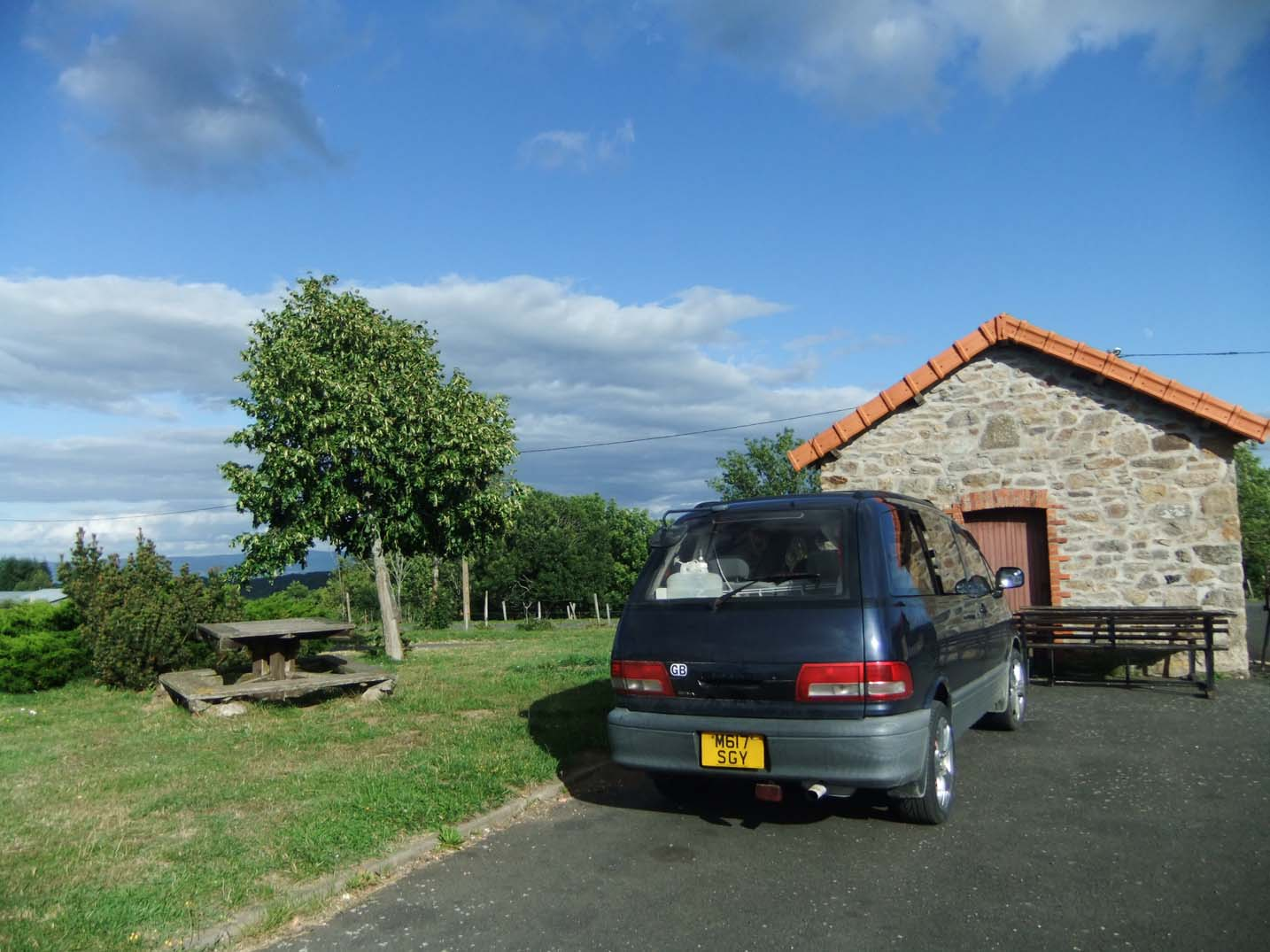 Our van in the Ally aire de service, France