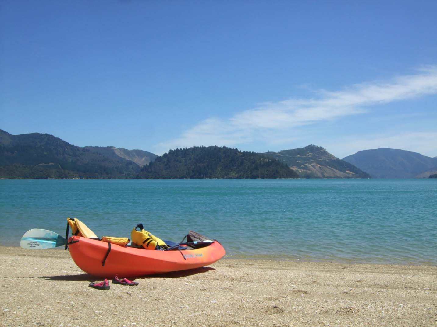 Kayak on a beach in the Marlborough Sounds, New Zealand