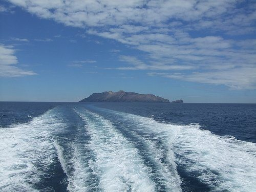 Leaving White Island on a boat