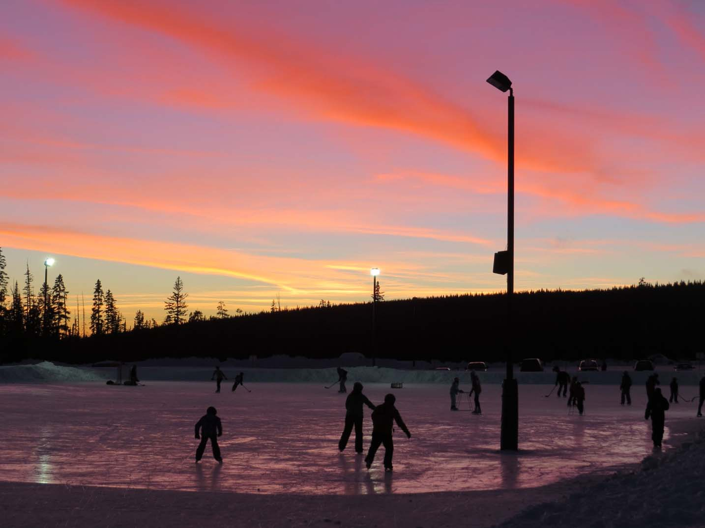 Skating at Big White Ski Resort at sunset