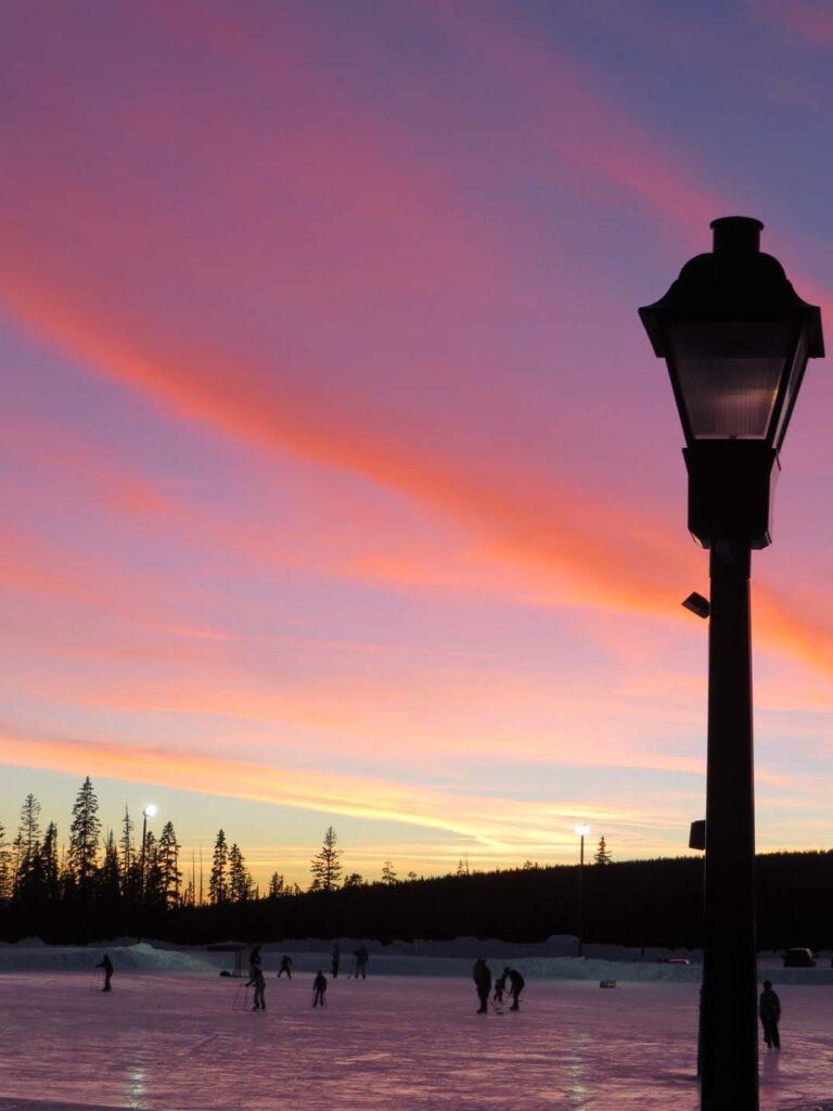 Big White ski rink BC sunset