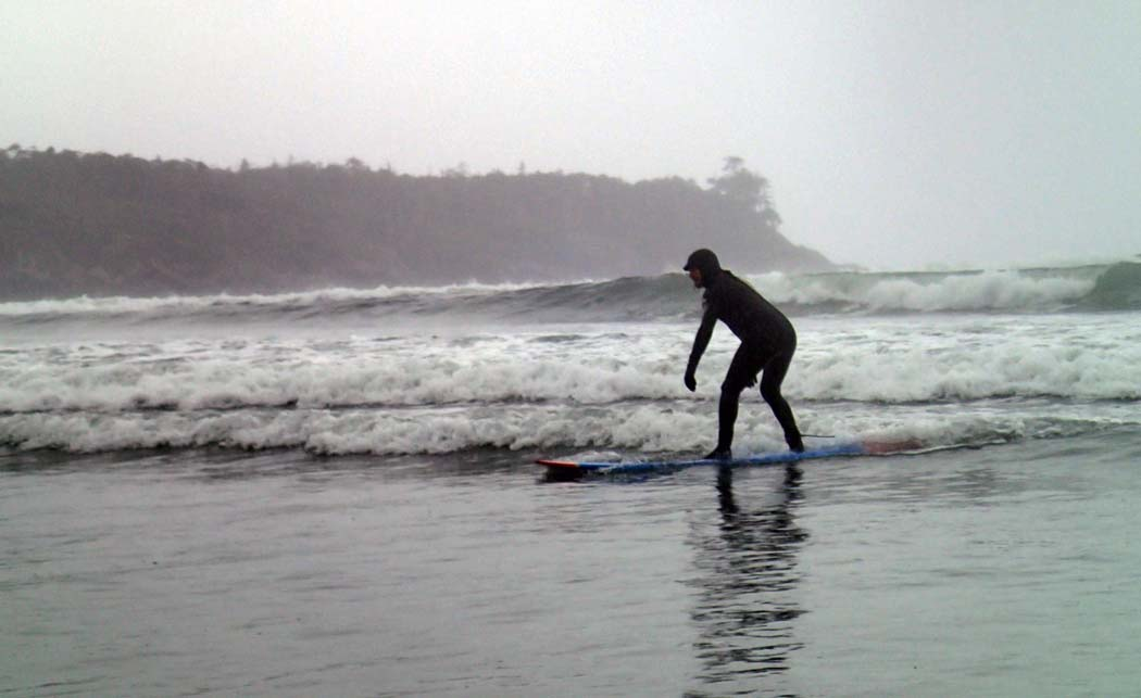 Things to do in British Columbia - JR having a go at surfing in Tofino