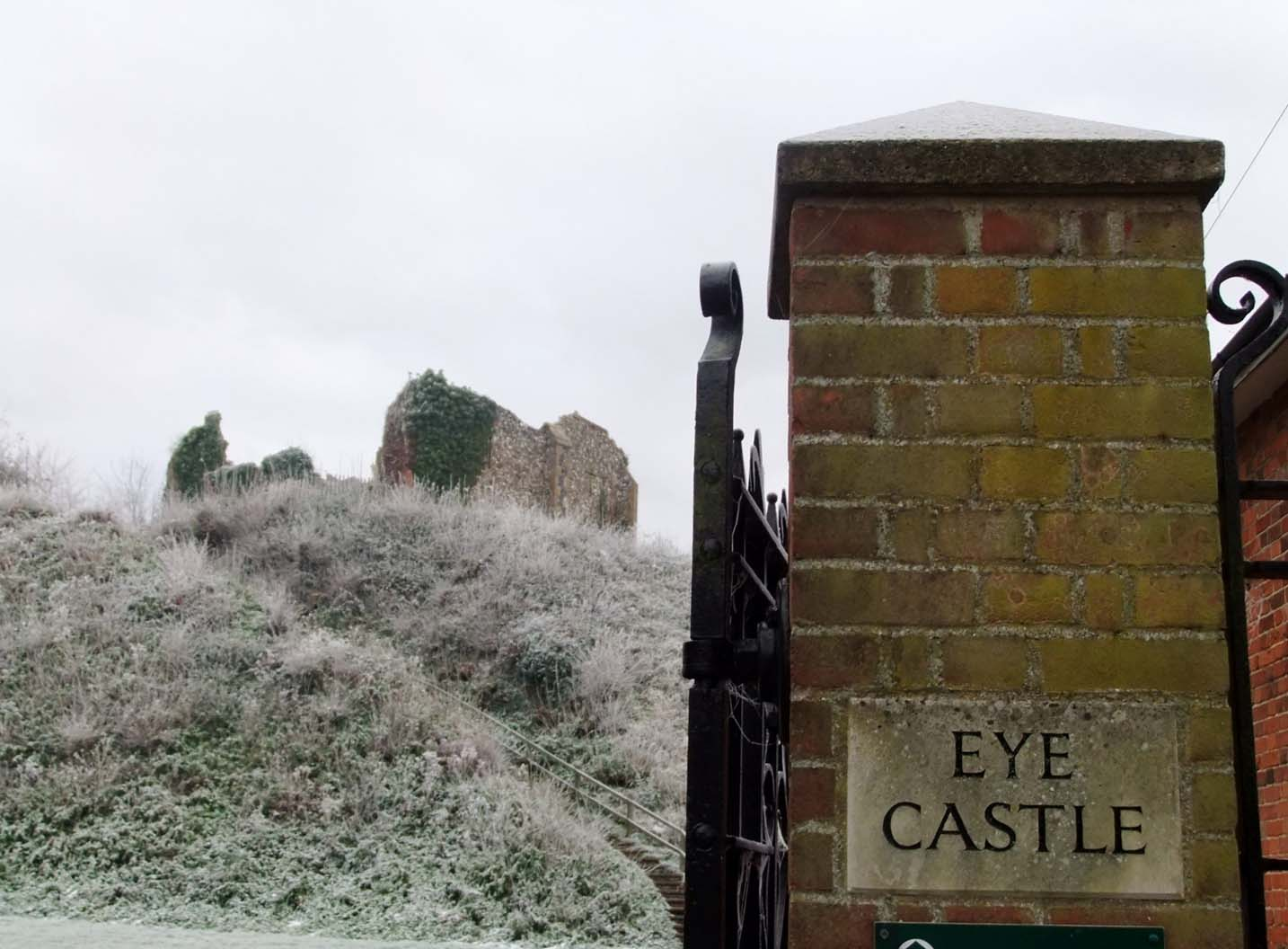 Eye Castle Suffolk with sign