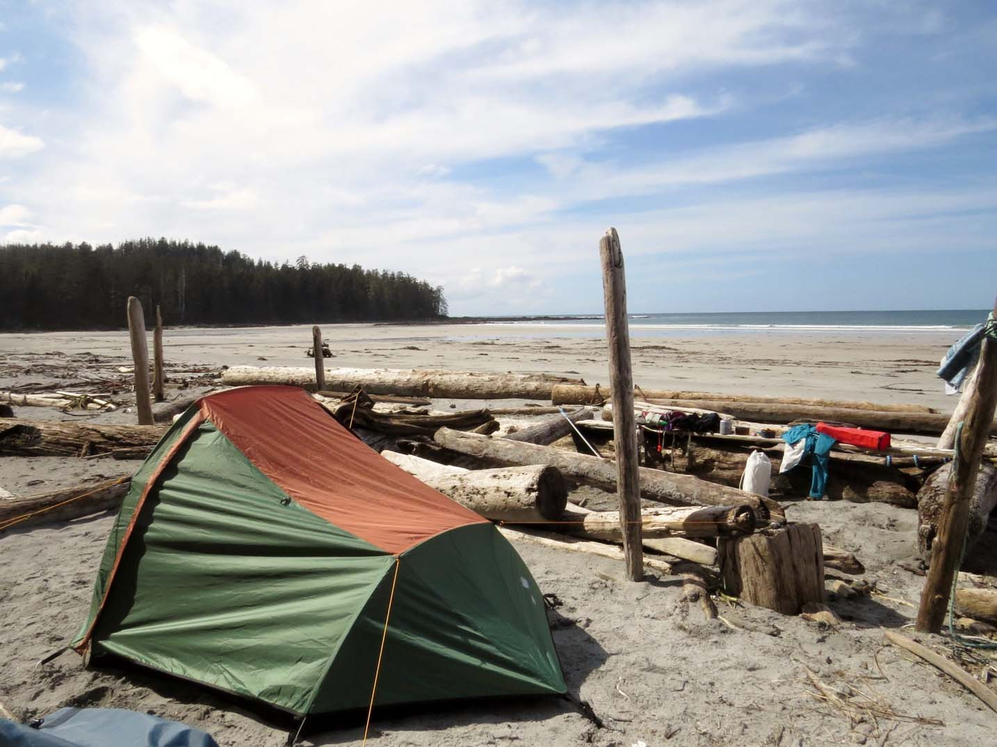 How to Camp for Free in British Columbia - Tent on Nels Bight beach, Cape Scott