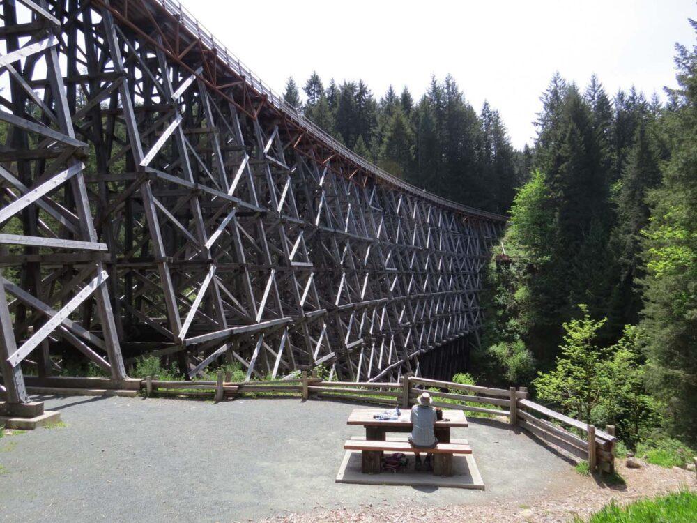 The huge wooden Kinsor Trestle near Shawnigan Lake, Vancouver Island