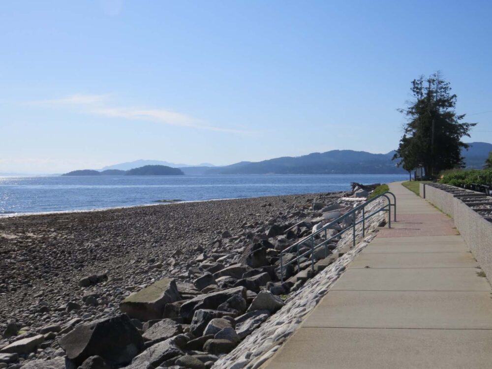 View of ocean and islands from Sechelt Beach walkway