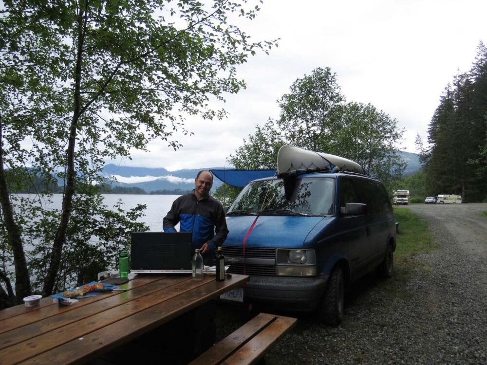 Cooking al fresco at Lois Lake, BC