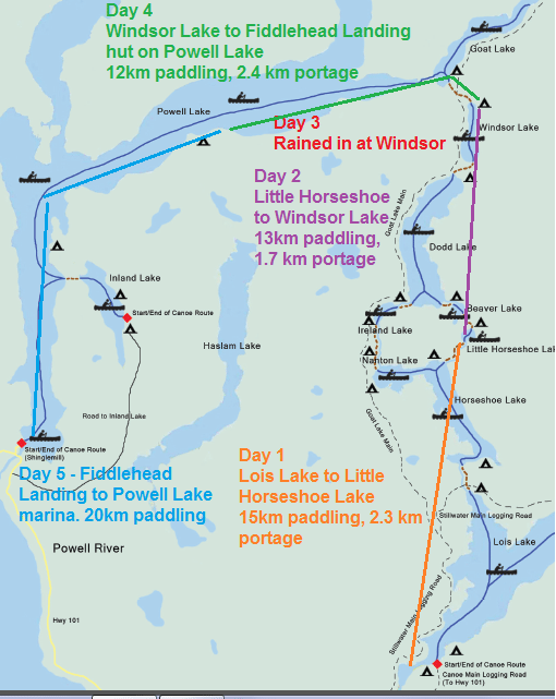 Powell Forest Canoe Circuit map with our route progress