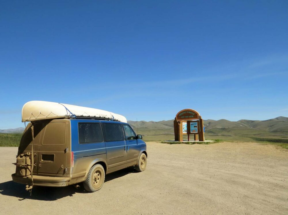 Astro Van Conversion At The Arctic Circle Dempster Highway