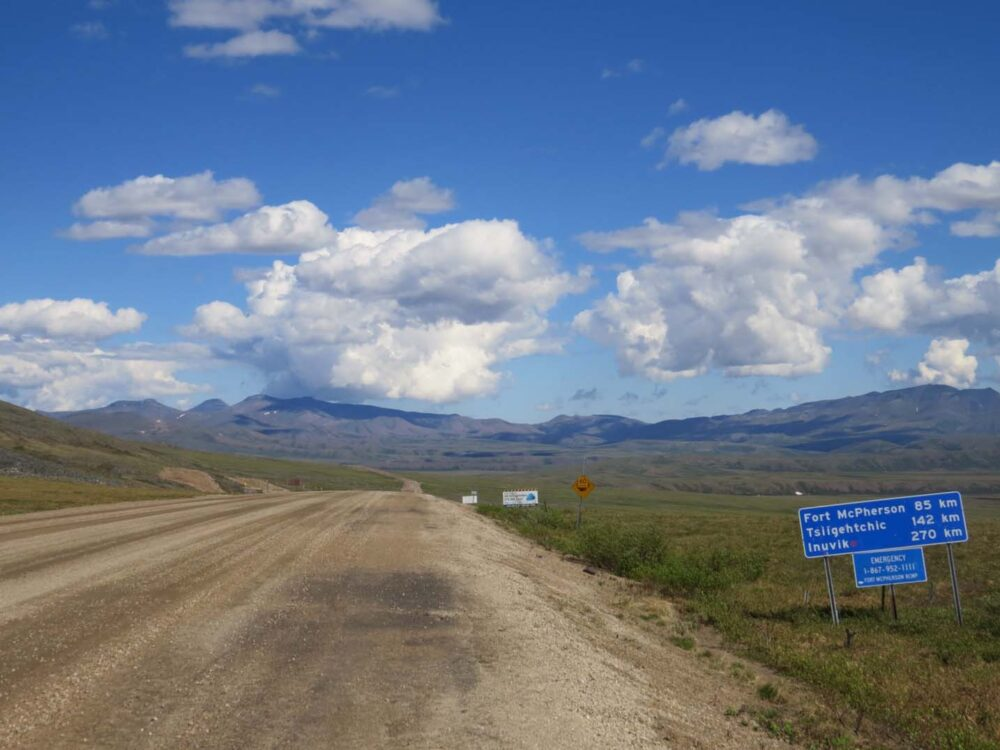 The Dempster Highway stretches into the distance, views near NWT border