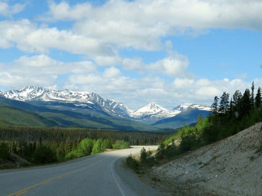 First views of Yukon mountains on our big road trip