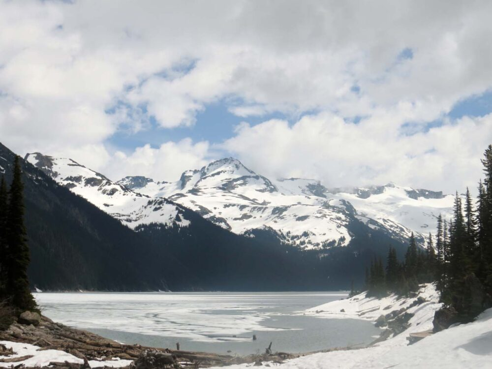 Garibaldi Lake covered with ice and snow
