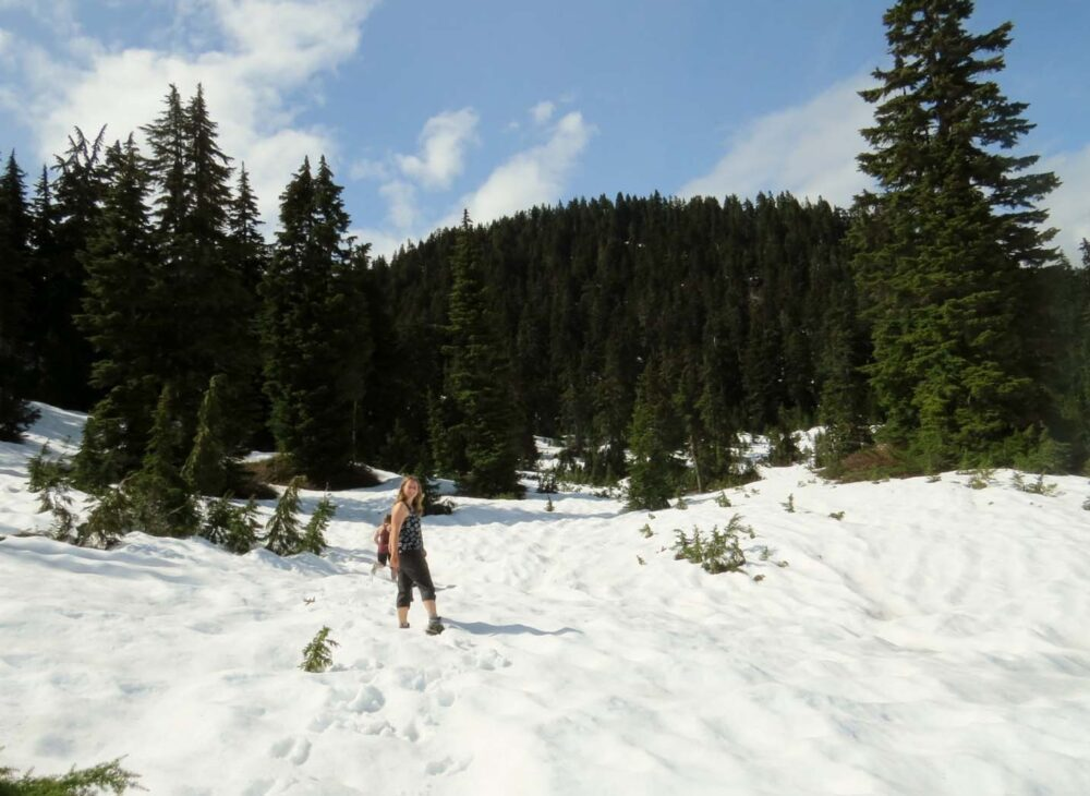 Hiking in snow Cypress Mountain