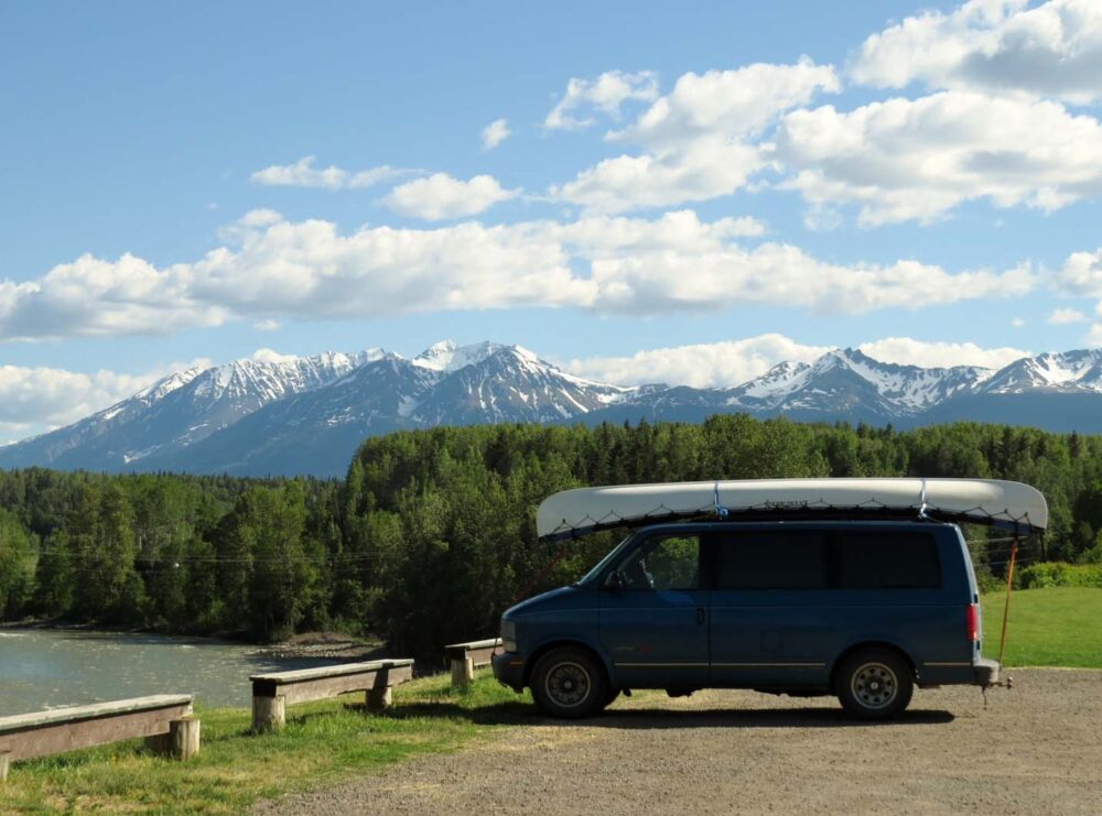 Astro Van Camper Conversion - North BC mountains view