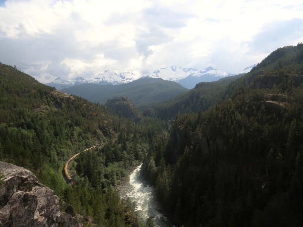 View near Squamish mountains train