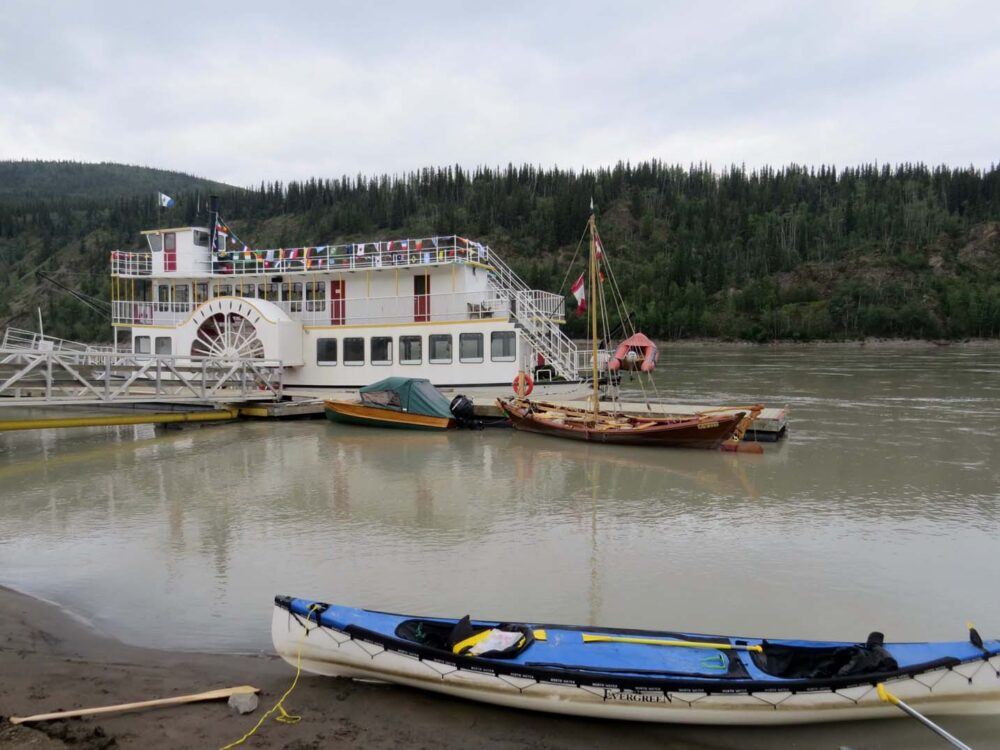 Arriving in Dawson City by canoe
