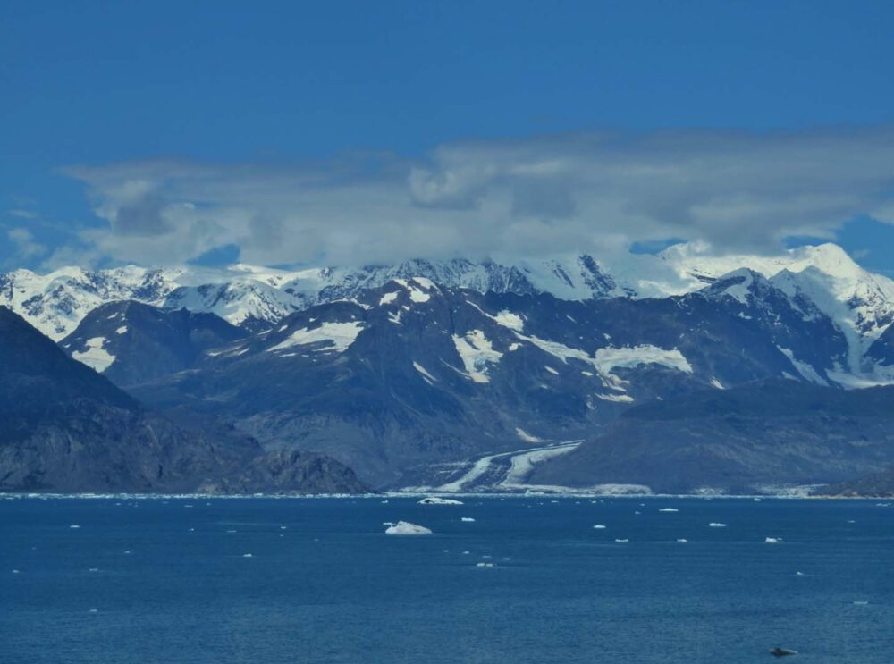Columbia Glacier and surrounding mountains of Columbia Bay, Alaska