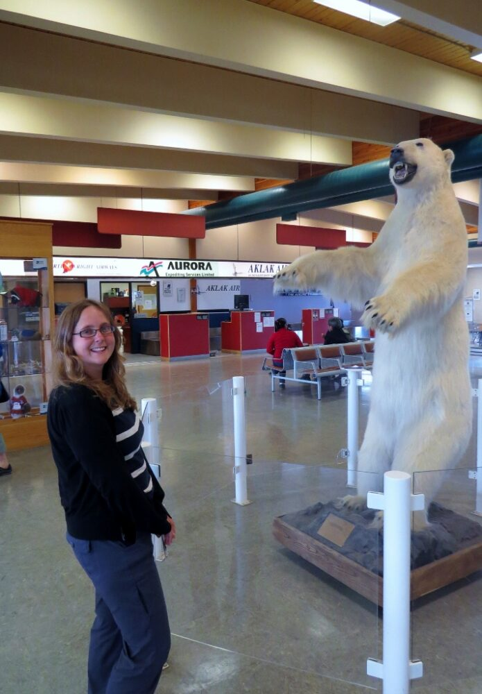 Gemma with a polar bar at the Inuvik airport