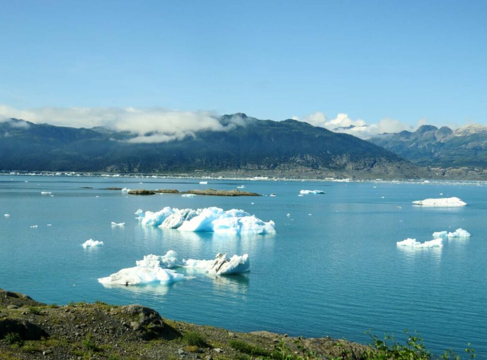 Looking down at icebergs in Columbia Bay, Alaska