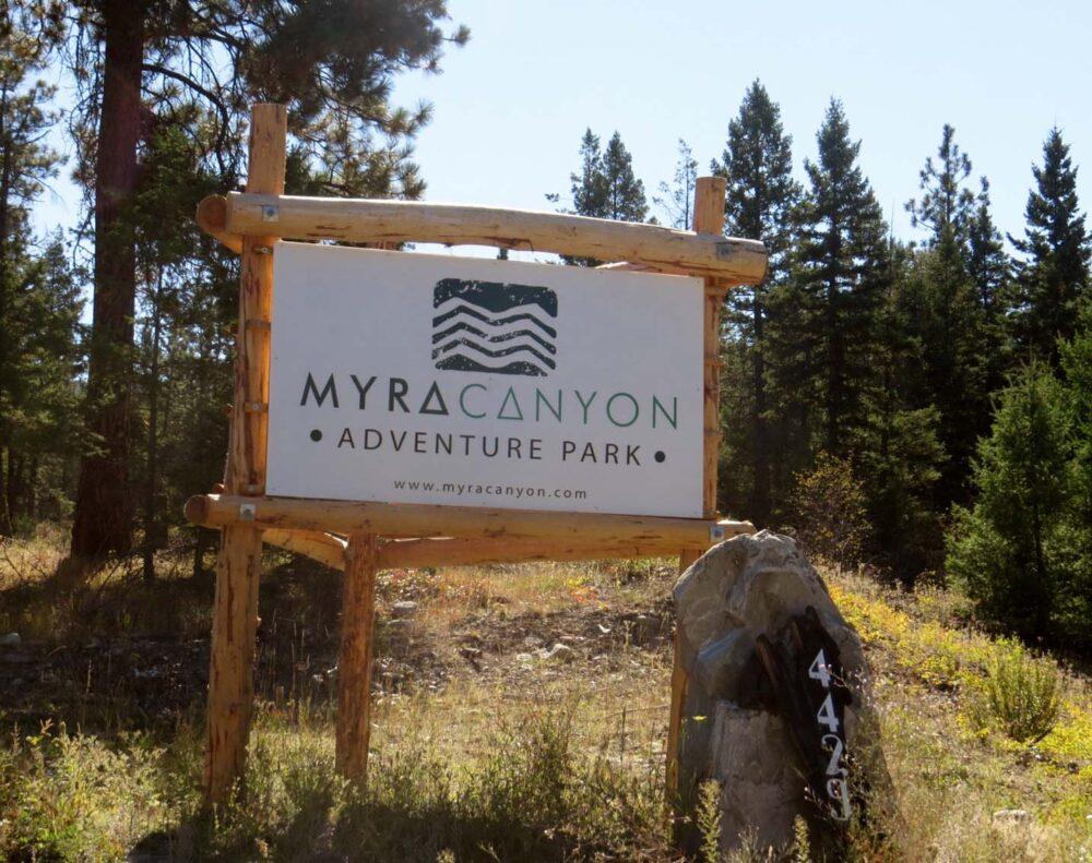 Myra Canyon Adventure Park sign