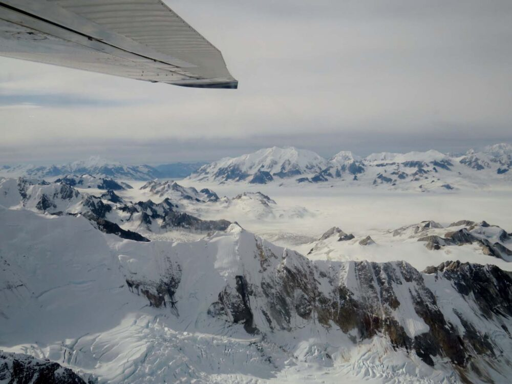 Flying over mountains in Kluane National Park. Canada