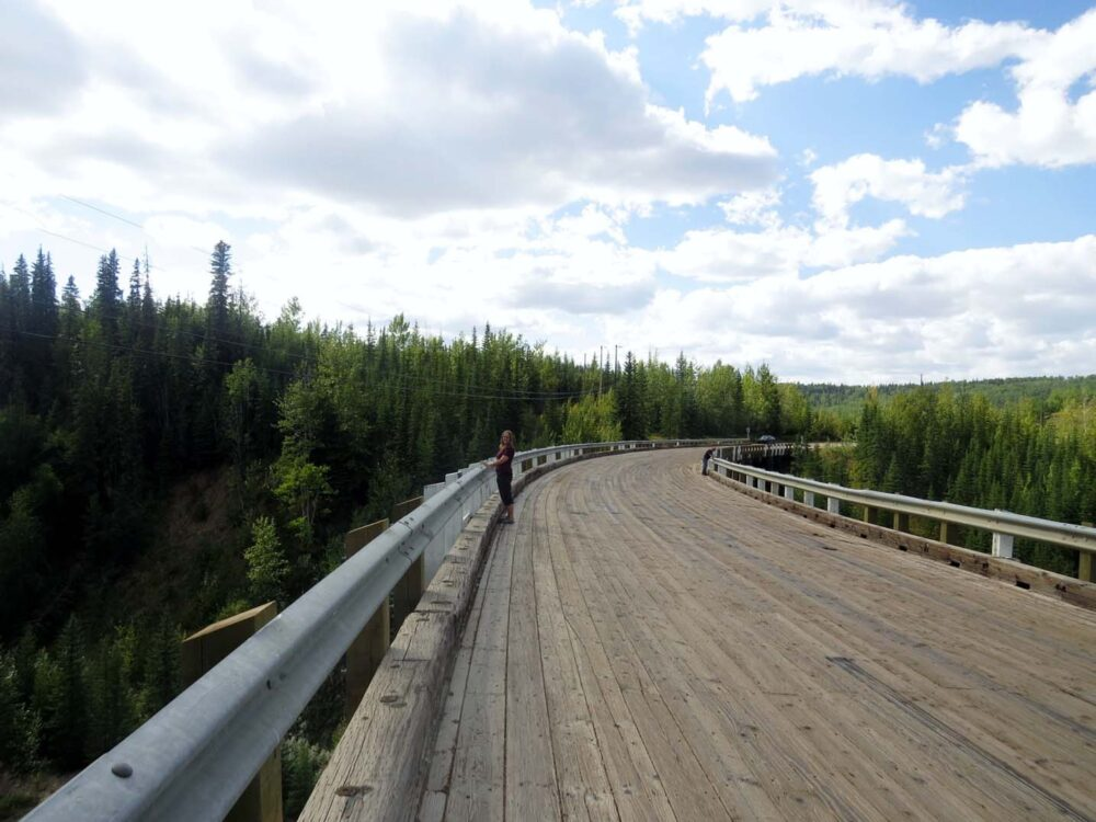 Walking the Kiskatinaw Bridge, a landmark on the Alaska Highway
