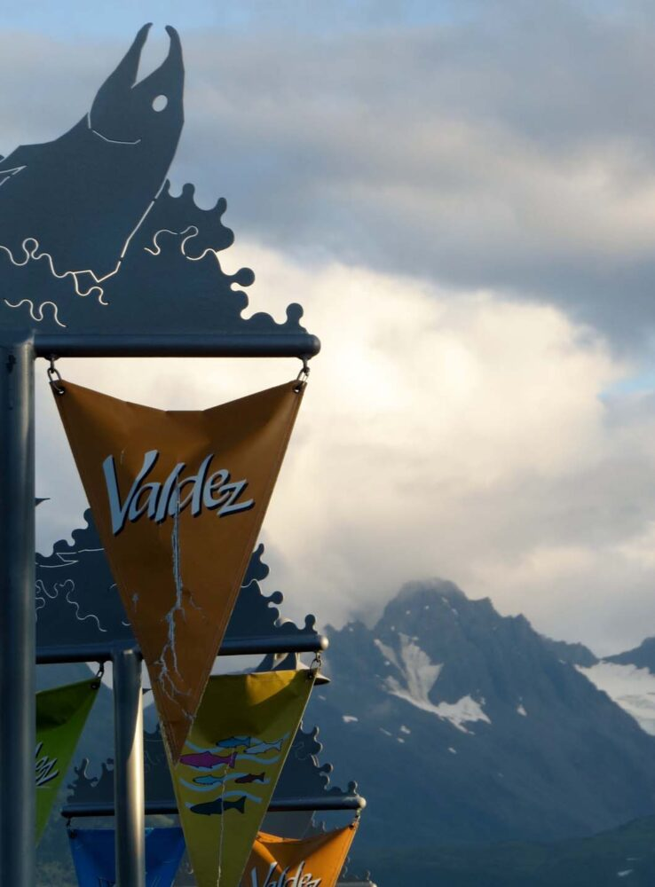 Valdez mountains sign