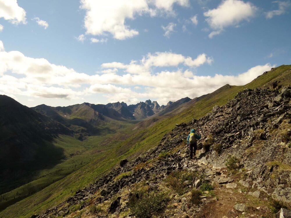 Ridge hiking on Grizzly Lake Trail in Tombstone Territorial Park