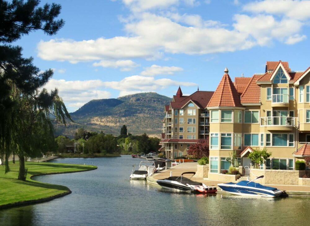 Boats and condos on Kelowna's lakefront