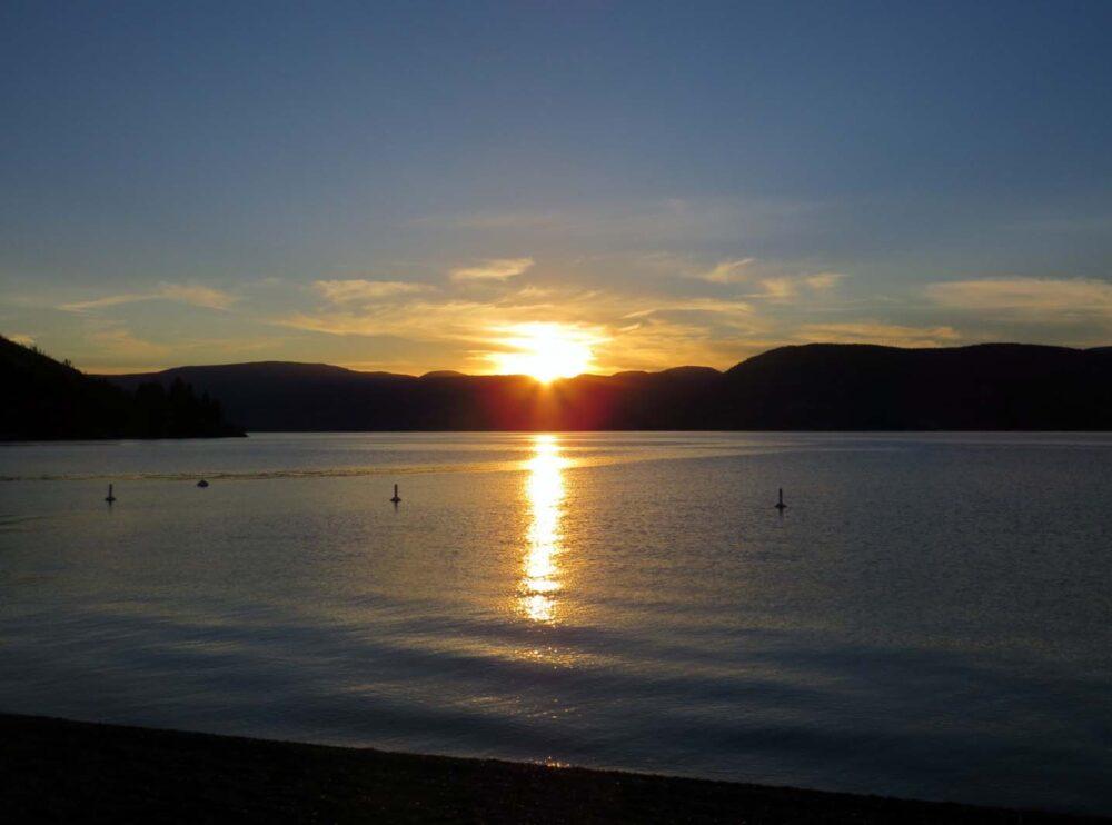 Okanagan Lake Kelowna by sunset