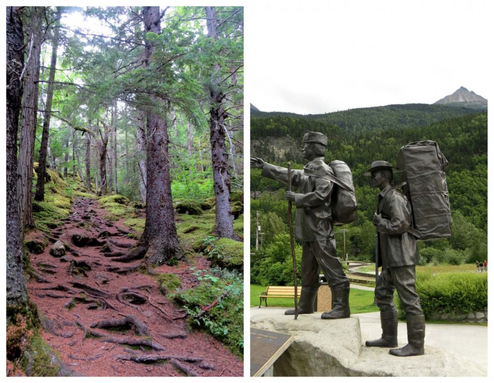 Trail through forest, monument with two miners leaden with backpacks