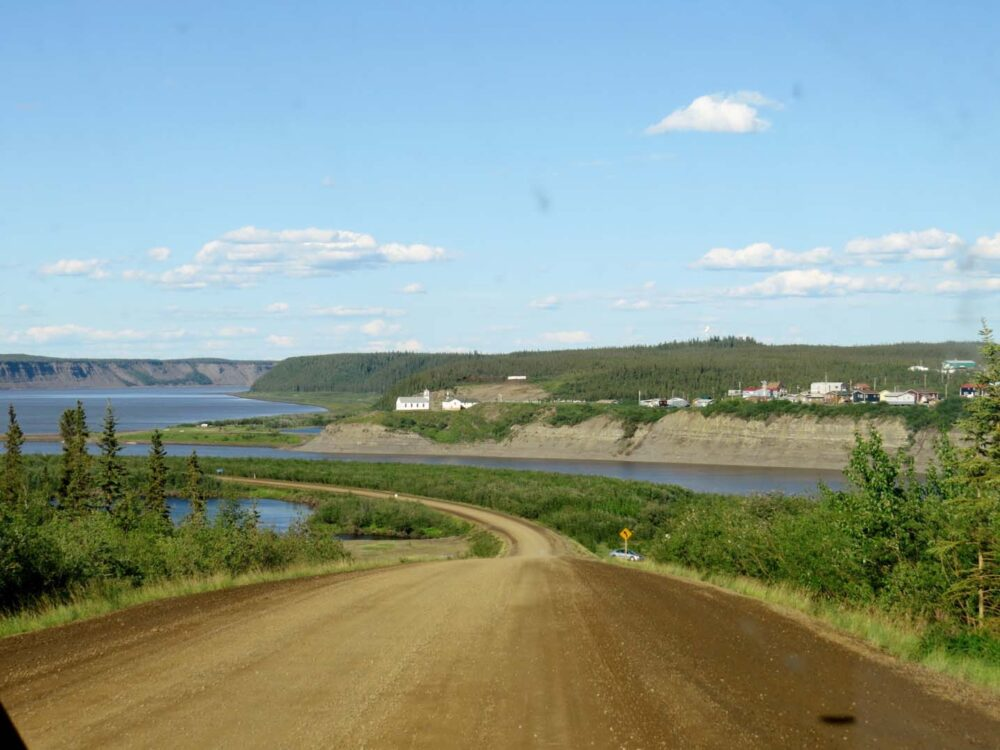Approaching the ferry on the Dempster Highway