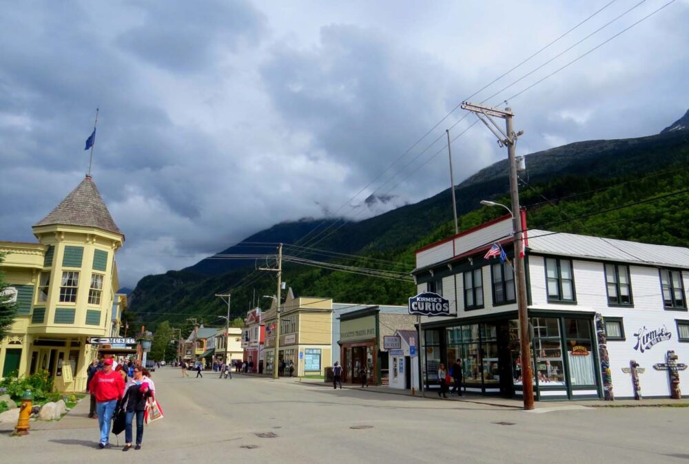 Wooden store fronts on Skagway's main street