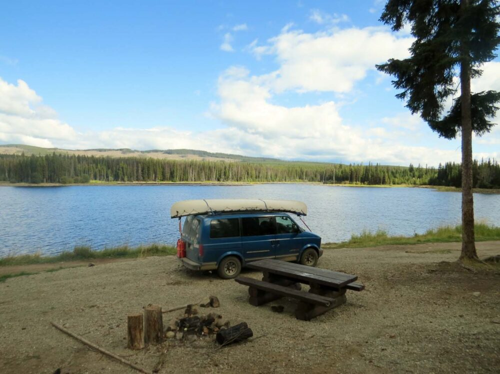 Free camping at James Lake, BC