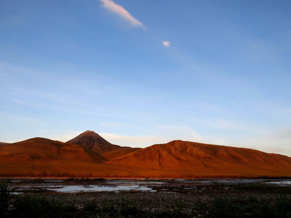 Red mountains during sunset