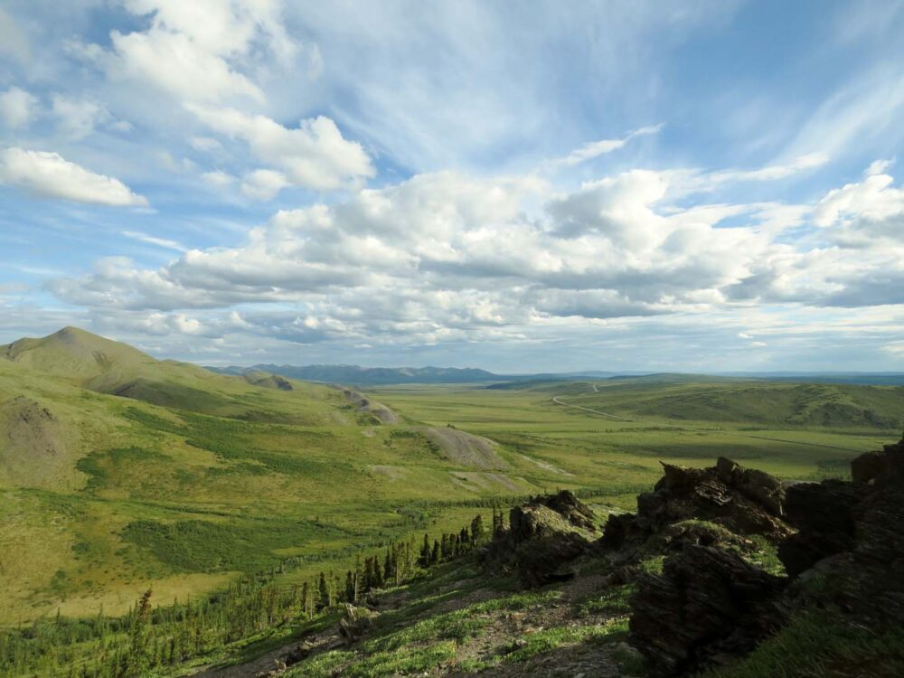 Big skies and green mountains on the Dempster Highway