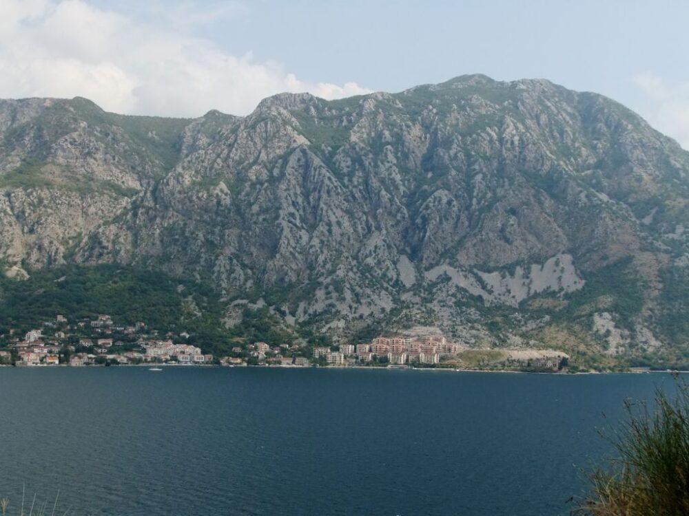 Huge cliffs looking over water, Montenegro