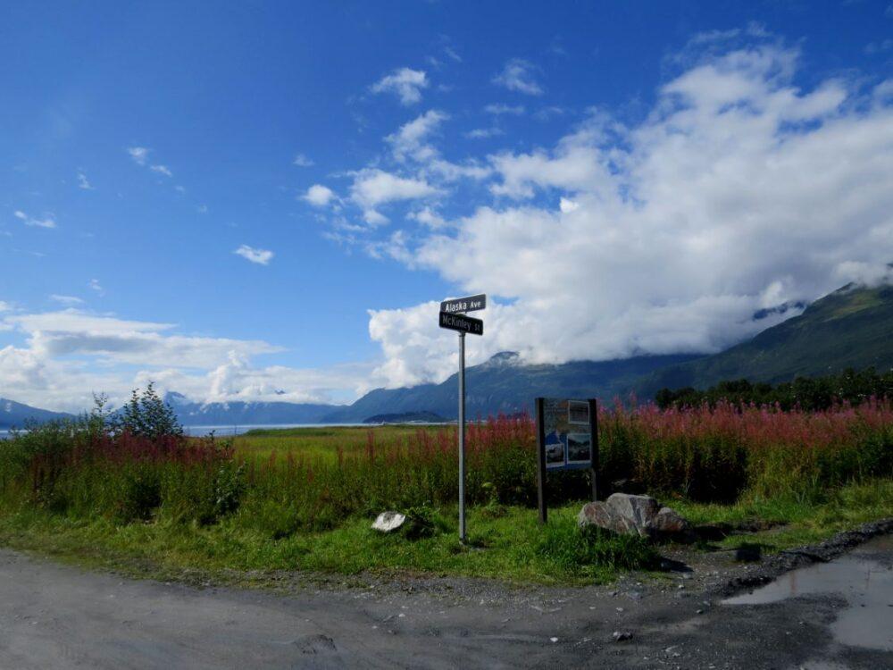 old valdez town alaska signposts