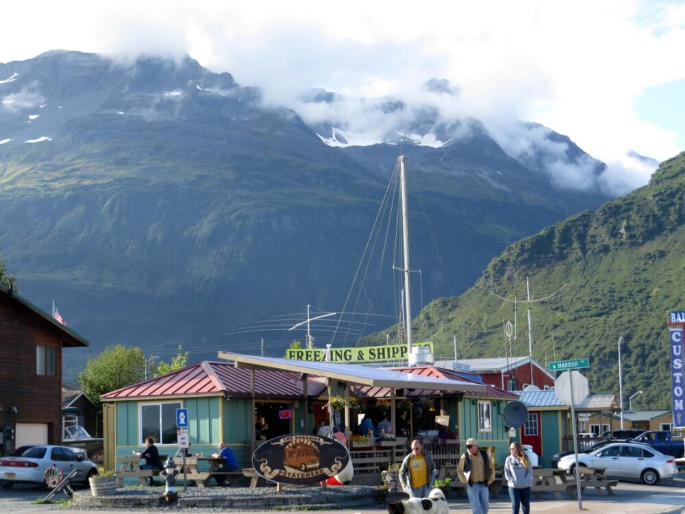 Valdez harbour backed by mountains