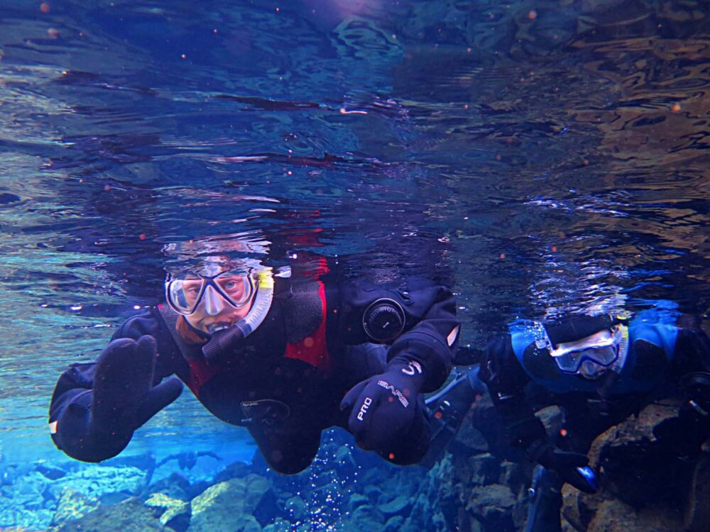 gemma and jr snorkeling fissure iceland