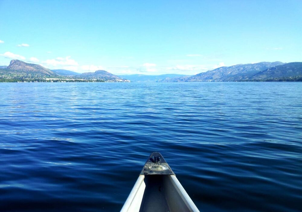 Canoe front in middle of Okanagan lake